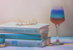 A bit of down time ;o) (Elisafox22 catching up again ;o)) Tags: elisafox22 sony a58 meyeroptik lens meyeroptikorestor bokehmonster 135mmf28 15blade vintagelens lifeisarainbow turquoise books table glass wine readingspecs spectacles shadows colours tablecloth topaz photoshop stilllife textures textured patterns layers indoors elisaliddell©2018