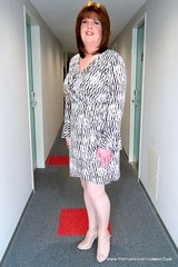 Makeover pre Blackpool (janegeetgirl2) Tags: transvestite crossdresser crossdressing tgirl tv ts blackpool stockings heels nylons glamour makeover wrap dress rooms jane gee gordon fawcett