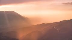 ein verregneter Sonnenuntergang (louhma) Tags: sunset rain dampf sonnenuntergang regen clouds sunrays golden orange colorful outside outdoors trüb salzburger land alps horizon landschaft tele