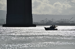 Early Morning Boating Under the Bay Bridge (dr_marvel) Tags: ca california sanfrancisco water bay ocean baybridge bridge morning gray boat boating under glare