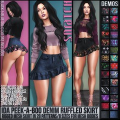 Sn@tch Ida Denim Ruffled Mini Vendor Ad LG (Tess-Ivey Deschanel) Tags: sntch snatch secondlife sl second sexy style life clothing clothes clubwear costumes casual corset mesh model meshclothing meshclothes models iveydeschanel ivey ihearts deschanel punk pixels gothic goth gaming games