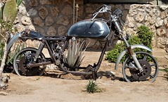 Namibia's Beauty:  Solitaire, Damaraland ... transport hub (ronmcbride66) Tags: namibia solitaire namibiasbeauty vintage vintagemotorbike damaraland bike cacti cactus transporthub pricklypear aloevera