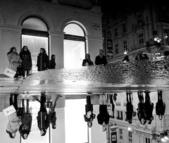 Street Mirror (CoolMcFlash) Tags: puddle water rain vienna street streetphotography candid pov pointofview people bnw blackandwhite bw monochrome fujifilm x30 reflection city citylife pfütze wasser regen nas wet wien strase perspective perspektive stadt sw personen schwarzweis spiegelung fotografie photography night nacht mtechnix hütte