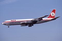 OD-AGU Heathrow 8-3-1986 (Plane Buddy) Tags: odagu boeing 707 347c mea middle east lhr heathrow
