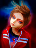 Play with me (g017 - g017.deviantart.com) Tags: portrait digital painting drawing heart necklace red black blue pendant