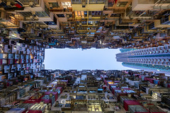 Quarry Bay Hong Kong 2018 - Christine Phillips (Christine's Phillips (Christine's observations) - ) Tags: quarrybay hongkong china christinephillips transformers vertical lookup night photography flats apartments houses old housing population surreal converginglines