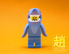 Sharkie (mikechiu86) Tags: lego figure minifigure toy toys blue shark series costume mascot minifigures jaws cute orange contrast teeth sharp