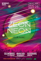 ZEON NEON (movingclays) Tags: adobe artist beatport colors dance dj dubstep edm electro festival flyer futuristic graphic guest house indie instagram itunes millennial model modern neon nightclub party psd rock soundcloud speaker techno template