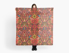 aziza fire redbubble scarf (Scrummy Things) Tags: sharonturner aziza morocco marrakech marrakesh illustration paintedwood flowers floral pattern surfacedesign boho bohemian summer festival scarf fire red orange redbubble fashion