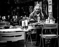 Every day (Kieron Ellis) Tags: street candid blackandwhite blackwhite monochrome man coffee sitting cafe chairs hair frown scarf coat lighter