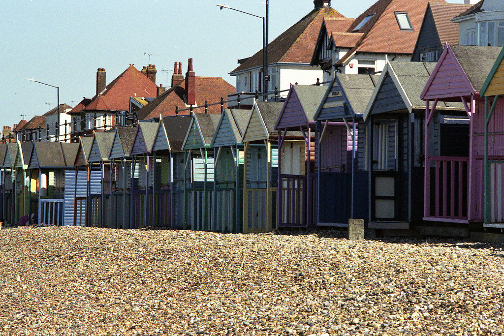 Serried rows of beach huts