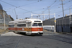 US CA San Francisco MUNI PCC 1142 6-1982 Duboce (David Pirmann) Tags: california sanfrancisco muni tram trolley streetcar transit railroad transportation pcc