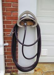 Bawling (Jen_Vee) Tags: neighbor hose hanger reel storage garage black water plastic rubbermaid door brick concrete wash hanging loops crying sad pareidolia face