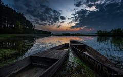 Pychówki nad Biebrzą (mirosławkról) Tags: biebrza wood boat water river sunrise orangeandblue sky clouds trees poland pentaxflickraward