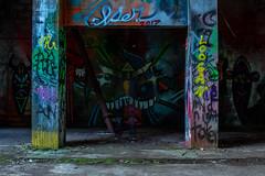 Ghost in the grafiti (Joel Apple) Tags: pacificnorthwest abandoned grafiti northamerica industrial abandonedpowerplant jordanriver canada britishcolumbia places vancouverisland