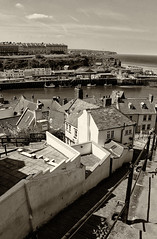 Whitby (Workhouse100) Tags: whitby harbour houses westcliff steps boats blackandwhite monochrome