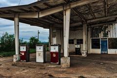 Just gave it all up (Jim Nix / Nomadic Pursuits) Tags: americana aurorahdr2018 jimnix luminar macphun motherroad newmexico nomadicpursuits route66 santarosa sony sonya7ii abandoned gaspumps gasstation ruined travel