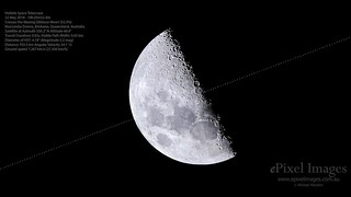 Hubble Space Telescope Transits across the Moon between Lunar X and Lunar V