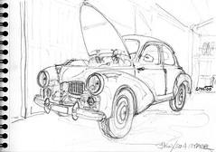 Au garage ! (Croctoo) Tags: croctoofr croctoo croquis mécanique mecanique autoancienne auto crayon