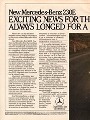 1981 Mercedes-Benz 230E 4 Cylinder Page 1 Aussie Original Magazine Advertisement (Darren Marlow) Tags: 1 2 3 8 9 19 81 1981 m mercedes b benz w w123 c car cool collectible collectors classic luxury a automobile v vehicle g german germany e europe european 80s