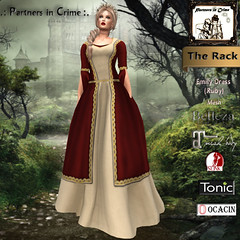 Emily Dress {Ruby} (partnersincrime.sl) Tags: free woman mesh dress fantasy fitted lady elven gor belleza slink hourglass physique sl maiden freewoman medieval gown medievalattire gorean noble maitreya role–play tonic curvy fine
