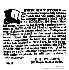 edward willett  New Hat store 300 south market st 1833 (albany group archive) Tags: 1830s old albany ny vintage photos picture photo photograph history historic historical