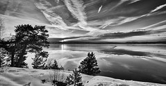 Hvervenbukta, Norway (Vest der ute) Tags: xt2 norway akershus sky sea seascape water landscape clouds trees tree snow winter mono grass reflections mirror winterscape sunset fav25 fav200