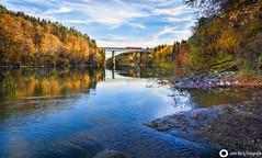Eisenbahnbrücke über den Inn bei Königswart, (john_berg5) Tags: river bayern inn germany bridge sky riverside