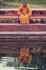 0739 Contemplation Reflection (Hrvoje Simich - gaZZda) Tags: outdoors people man monk buddhism orange pool water reflection lumbini nepal asia nikon nikond750 nikkor283003556 gazzda hrvojesimich