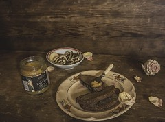 Evening (Loore-Ly) Tags: foodphotography food bread honey sweet stillife stilllife blate fruits rose petals flower dry bloom retro vintage