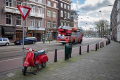 Weteringschans street (Dmitry Yelloff) Tags: netherlands nederland holland amsterdam europe travel tourism buildings architecture homes houses exterior cityscape residence apartments estate built structure capital center district european city outdoors dutch sightsee spring morning car transport windows early town urban streets firecar fireengine reflections motorcycle scooter moped bike red