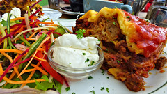 Takapuna, North Shore, Auckand, New Zealand (Sandy Austin) Tags: panasoniclumixdmcfz70 sandyaustin takapuna auckland northisland newzealand food kingsplantbarn lasagna yoghurt salad