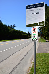Nobody talked to me about this (James_D_Images) Tags: street sign maintainedby james wide angle perspective road lines curb grass bus stop surrey britishcolumbia adoptastreet