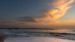 An Outer Banks Sunrise - EXPLORE #203 (Bruce Bugbee) Tags: nagshead northcarolina unitedstates us atlantic ocean sunrise clouds orange pier waves surf sand beach water morning sky d7200