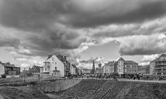 shelter (stevefge) Tags: 2018 newcastle northeast tynemouth uk abbey castle coast ruins landscape blackandwhite bw monochrome zw zwartwit houses churches cloud highstreet rain storm reflectyourworld