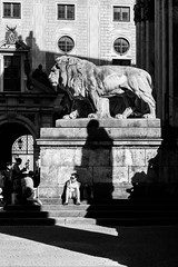 Shadows of the Past (cs_one) Tags: sculpture münchen city building monochrome statue street people germany architecture outdoors europe town art shadows bnw bw black white mono sony sonyalpha a6000 lion odeonsplatz
