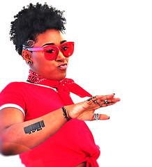 (daystar297) Tags: streetportrait portrait red lady woman beautiful black africanamerican sunglasses tattoos nikon people