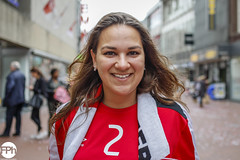 No 2 (Frankhuizen Photography) Tags: girl woman vrouw meid psv soccer voetbal rood wit red white street straat eindhoven netherlands nederland football people fotografie photography portret portrait smile glimlach colour color posed stranger geposeerd