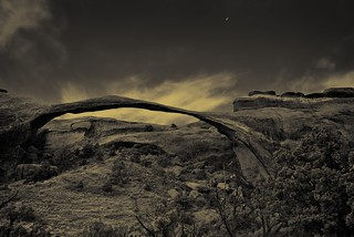 Postcard and the Moon (Black & White, Arches National Park)