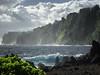 Early morning at Laupahoehoe Beach Park - Big Island of Hawaii, October '02 (Jonmikel & Kat-YSNP) Tags: hawaii october 2002 bigisland laupahoehoebeach laupahoehoe camping ocean shore morning island