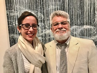 Lowe Art Museum director Jill  Deupi and UM art department dean Tom Lopez at the recent Lowe Art Museum opening