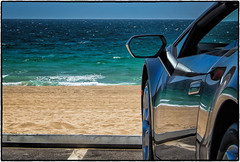 Zuma Beach, Malibu. (drpeterrath) Tags: canon eos5dsr 5dsr dailyvisual color seascape beach ocean water sun sky car lambo lamborghini reflection travel outdoor losangeles malibu zuma california