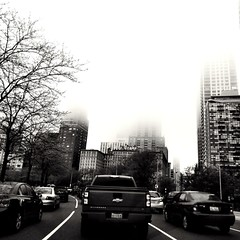 Foggy Drake (robphi_g) Tags: lakeshoredrive chicago drakehotel curve road cars traffic buildings route41 lsd trees fog foggy
