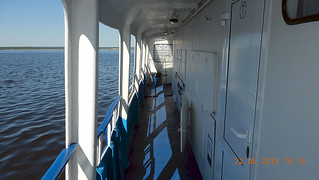 A short Volga river trip near Cheboksary by a small cruise ship