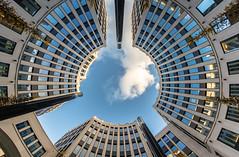 look up (Rita Moll) Tags: berlin lookup architecture sky bluesky clouds building sun sony sonyalpha a6300 fisheye 8mm samyang