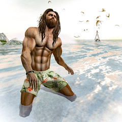 A Dip 1 (Greydude12) Tags: sl second life secondlife men beach swimwear leo grey swim dip sea sky surf seagull waves buoy leogrey man mens male boys guys handsome sexy hot brunette blue eyes ripped muscles muscular niramyth aesthetic bento enzo stud firestorm speedo trunks bum sun sunset sunrise