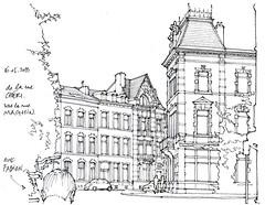 rue Maghin, avec Fabien (gerard michel) Tags: belgium liège architecture rue sketch croquis