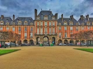 Paris France -  Place de Vosges - Place Royale - Historic