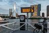 Rotterdam - waterbus (Tobias Dander) Tags: tobiasdander rotterdam nieuwe maas river architecture bridge erasmusbrug waterbus sign twilight highrise canon70d skyscraper building kopvanzuid