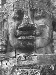 Bayon face (hasor) Tags: siem reap cambodia southeastasia bayon angkor face stone smiling ancient ruins monochrome